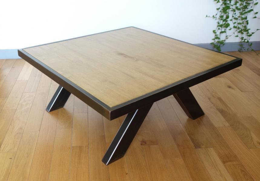 Table acier bois tb1