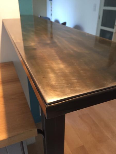 Cousu d'acier - plateau acier bar de cuisine